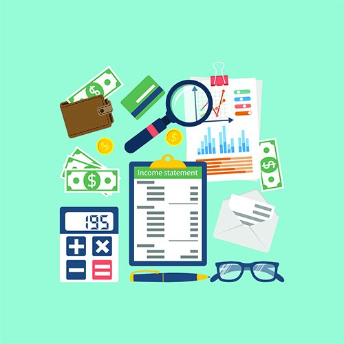 Income statement. Accounting finance. Income money. Documents, statement of income. Income statement vector illustration flat design. Counting profit. Report income. Calculation income. Business paper